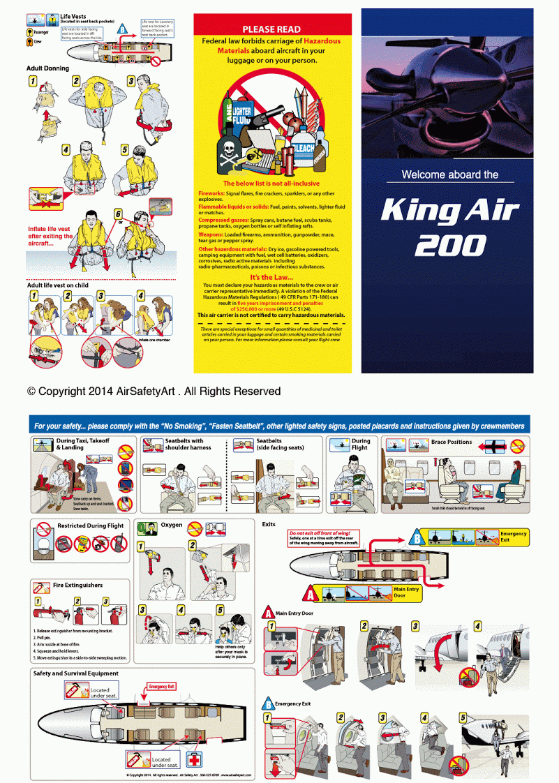 Beechcraft King Air 200 Safety Briefing Card