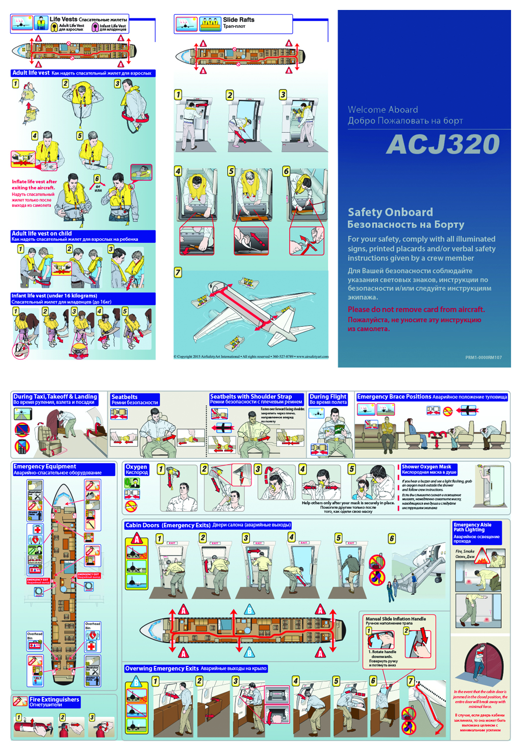 Airbus ACJ320 Safety Briefing Card