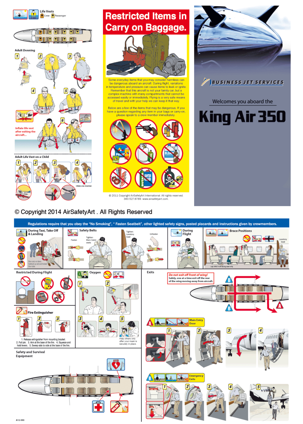 Beechcraft King Air 350 Safety Briefing Card