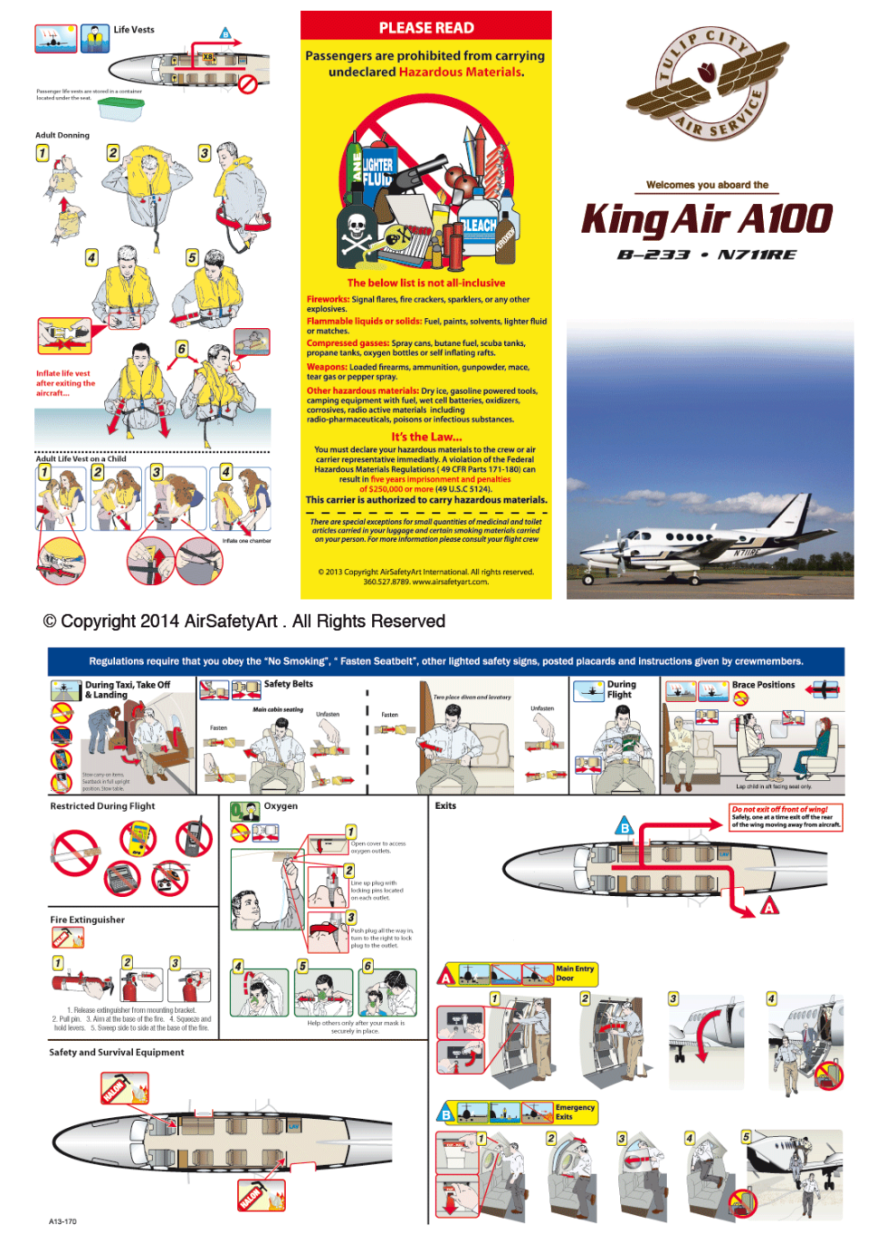 Beechcraft King Air A100 Safety Briefing Card