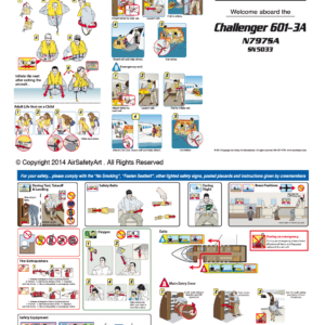 Bombardier Challenger 601 Safety Briefing Card