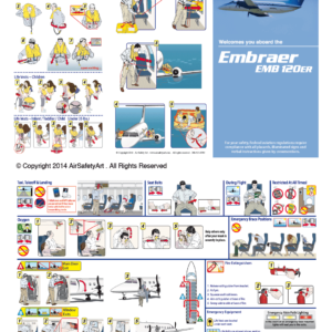 Embraer EMB 120ER Safety Briefing Card